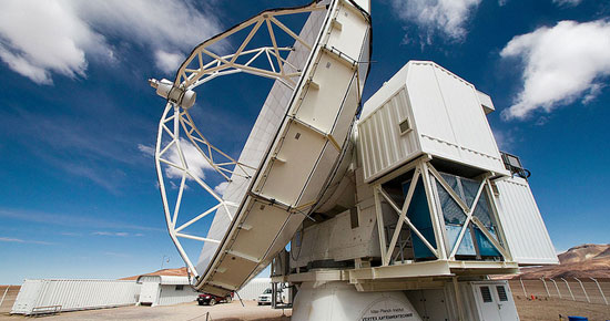 The Atacama Pathfinder Experiment radio telescope in the Chajnantor Observatory, Chile. (Photo courtesy of ESO).